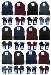 24 of Yacht & Smith Mens Warm Winter Hats And Glove Set Solid Assorted Colors 24 Pieces