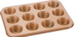 12 of Non Stick Mini Cupcake Pan Copper Finish