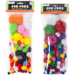 72 of Craft PoM-Poms Color & Glitter 2ast 3 Size Poms Per 100pc pk