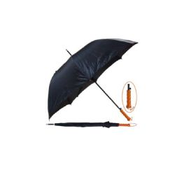 "48 of 45"" Long Black Umbrella With Wood Handle"