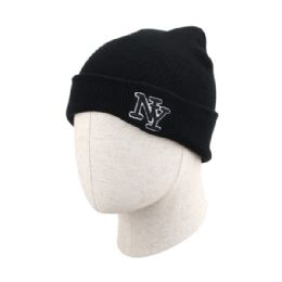 36 of Adult New York Ribbed Winter Beanie Hat