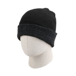 36 of Adult Plain Ribbed Two Tone Beanie Hat