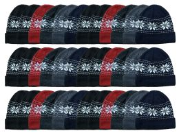 36 of Yacht & Smith Unisex Snowflake Fleece Lined Winter Beanie Hat