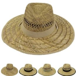 24 of Adults Large Brim Straw Hat