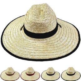 24 of Adults Large Black Brim Straw Hat