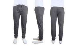 24 of Men's Cotton Stretch Twill Joggers In Dark Grey Size Large