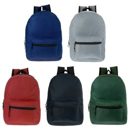 24 of 17 Inch Kids Classic Backpack In 5 Solid Colors