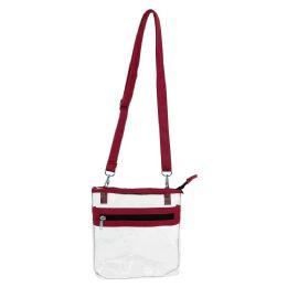 24 of Clear Pvc Transparent Women's Crossbody Bag In Burgundy