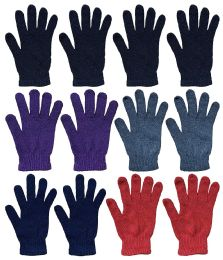 12 of Wholesale Bulk Winter Magic Gloves Warm Brushed Interior, Stretchy Assorted Mens Womens (womens/assorted, 12)
