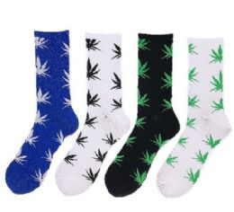24 of Colorful Marijuana Crew Socks, Size 10-13