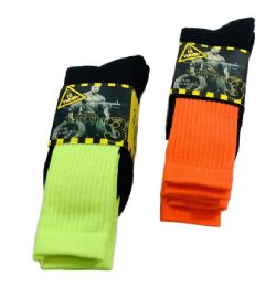 24 of Men's Neon Work Socks, Size 10-13