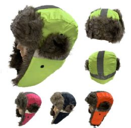 24 of Aviator Hat With Fur Trim [neon With Reflective Strip]