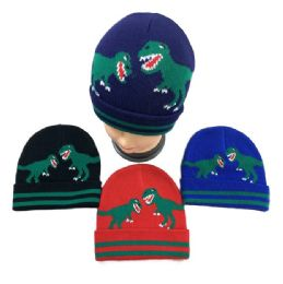 36 of Child's Knitted Cuffed Winter Hat [Dinosaurs]