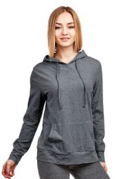 24 of Women's Lightweight Pullover Hoodie Charcoal Gray