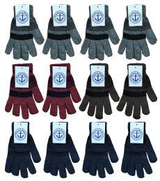 36 of Yacht & Smith Unisex Winter Gloves, Magic Stretch Gloves In Assorted Stripe Colors BULK PACK