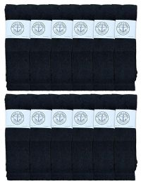 12 of Yacht & Smith King Size Men's 31 Inch Cotton Terry Cushioned Athletic Black Tube SockS- Size 13-16