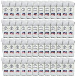 48 of Yacht & Smith Mens Wholesale Bulk Crew Cotton Socks, Athletic Sport Socks Shoe Size 8-12 (white Usa, 48)