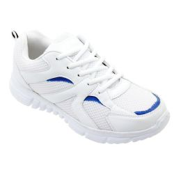 12 of Men's Lightweight Running Sneakers In White And Royal Blue