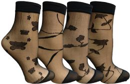 30 of Yacht & Smith 4 Pack Fishnet Ankle Socks, Mesh Patterned Anklet Sock