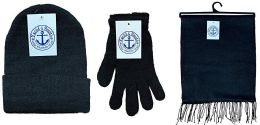 72 of Yacht & Smith Unisex 3 Piece Pre Assembled  Winter Care Set Hat Gloves & Scarf Solid Black