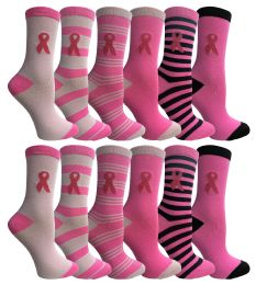 12 of Yacht & Smith Pink Ribbon Breast Cancer Awareness Crew Socks For Women 12 Pairs