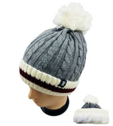 24 of Knitted PlusH-Lined Pom Pom Hat