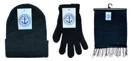 180 of Yacht & Smith Unisex 3 Piece Winter Care Set, Black Beanie Hat, Black Magic Gloves And Black Fleece Scarf