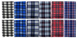 144 of Yacht & Smith Unisex Warm Winter Plaid Fleece Scarfs Assorted Colors Size 60x12 Bulk Buy