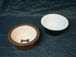 12 of Ceramic Pet Bowl Large Assorted Designs And Shapes