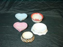 24 of Ceramic Pet Bowl Small Assorted Designs And Shapes