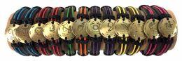 48 of Gold Color Zodiac Faux Leather Bracelet