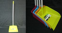 24 of Dustpan With Long Handle Assorted Colors