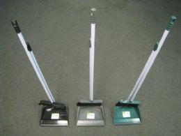 24 of Plastic Long Handle Dustpan With Broom Metal Stick