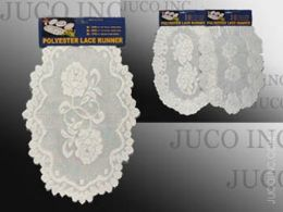36 of Table Mat Round White Polyester Lace