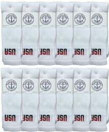 12 of Yacht & Smith Men's Cotton 28 Inch Tube Socks, Referee Style, Size 10-13 White With Usa Print