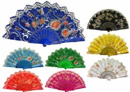 48 of Hand Fan With Flower And Butterfly Design Assorted
