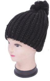 48 of Women's Black Sequin Knit Hat