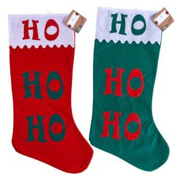 24 of Stocking Jumbo 30 Inch Felt Hohoho Scalloped Cuff 2 Assorted Colors