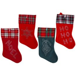 24 of Stocking 18 Inch Soft Felt With Plaid Cuff & Gem Designs