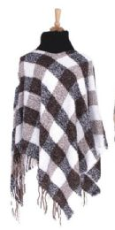 36 of Women's Checker Design Winter Ponchos
