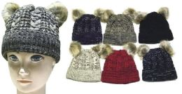 72 of Women's Knit Winter Hat With Double Pom Pom