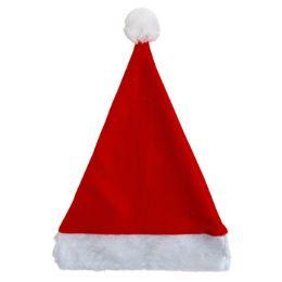 36 of Santa Hat 17in Felt W/plush Cuff Red/hanger Card