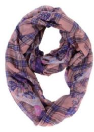 72 of Women's Floral & Plaid Print Light Weight Infinity Scarf