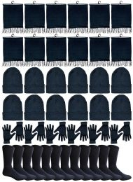 240 of Winter Bundle Care Kit For Men, 4 Piece - Hats Gloves Beanie Fleece Scarf Set In Solid Black