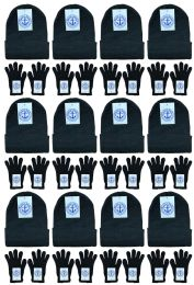 24 of Yacht & Smith Unisex Warm Winter Hats And Glove Set Solid Black 24 Piece