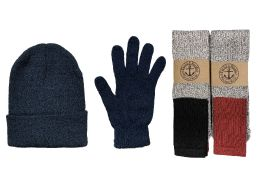 144 of Yacht & Smith Mens 3 Piece Winter Set , Thermal Tube Socks Black Gloves And Beanie Hat