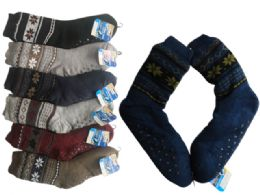 24 of Mens Knit Cabin Socks Warm Winter Socks