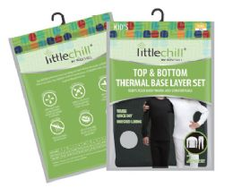 24 of Children's Unisex Thermal Set's In Black With Brushed Fleece Lining