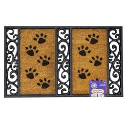 6 of Mat Outdoor Paw Print Coco With Rubber Black Trim