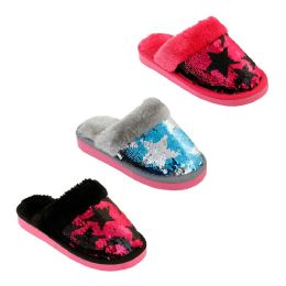 48 of Girls Magic Star Sequin Winter Slippers